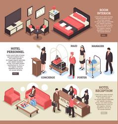 isometric hotel horizontal banner set vector image vector image