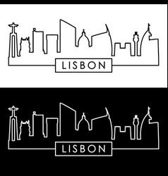 lisbon skyline linear style editable file vector image vector image