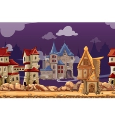 Medieval city seamless landscape background vector image vector image
