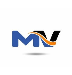 Mv company linked letter logo vector