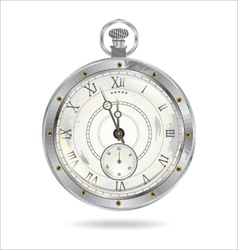 Old silver watch vector