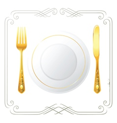 One person place setting vector