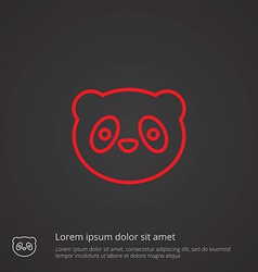 panda outline symbol red on dark background logo vector image