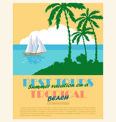 Retro seaside view minimalistic advertising poster vector