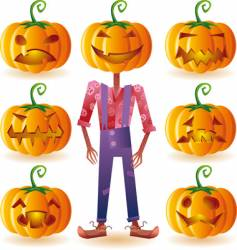 Seven pumpkins and one scarecrow vector
