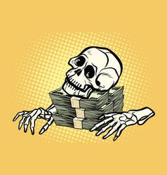 skeleton skull dollar money wealth and greed vector image