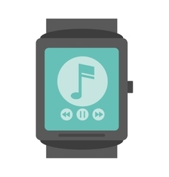 Smartwatch music player app technology vector