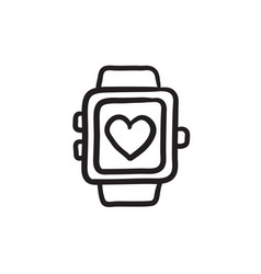 Smartwatch with heart sign sketch icon vector