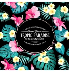 Tropical flowers label vector