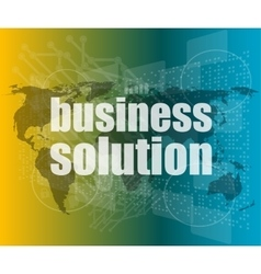 words business solution on digital screen vector image