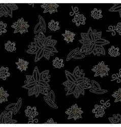 Vintage black and white floral seamless pattern vector