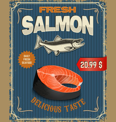 Fresh salmon salmon steak in retro vector
