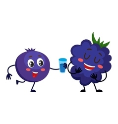 Cute and funny blueberry character offering drink vector