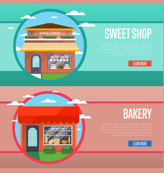 Sweet and bakery shop banner set vector