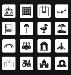 playground icons set squares vector image