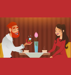 Couple in love romantic evening in restaurant or vector