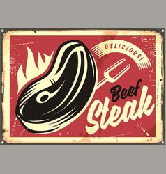 Steak house retro advertisement vector