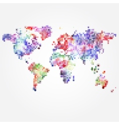 World map with colored dots of different sizes vector
