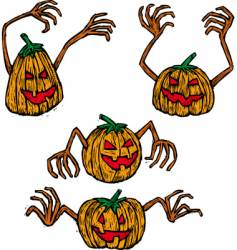 four pumpkins vector image