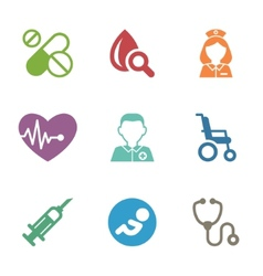 Health care medical items flat style icons vector