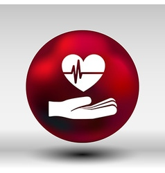 Heart ecg in hand icon abstract logo type vector