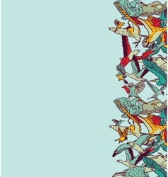 Fly birds sky empty place color card vector image