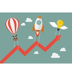 Flying lightbulb rocket and balloon pull graph up vector