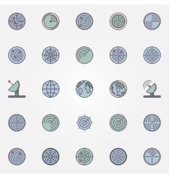 Radar icons collection vector