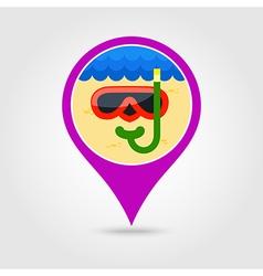 Diving mask pin map icon summer vacation vector