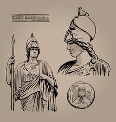 Athena pallas ancient greek goddess of wisdom vector