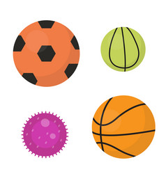balls set icons flat cartoon style collection vector image vector image