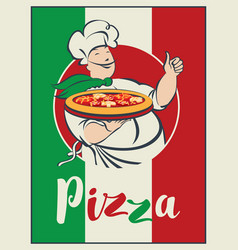 Banner with italian flag pizza and winking chef vector