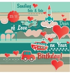 Birthday Card Cute Scrapbook Design vector image vector image