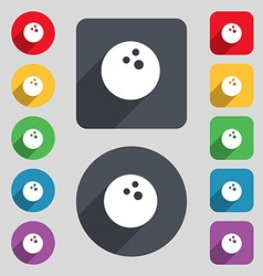 Bowling game ball icon sign a set of 12 colored vector