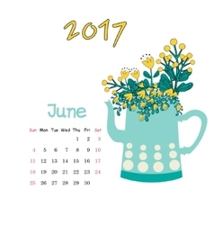 Calendar June 2017 Template Week starts vector image