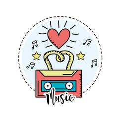 Cassette to listen and play music vector