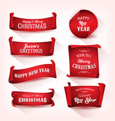 christmas parchment scroll collection vector image vector image