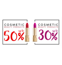 Cosmetics sale banner with lipstick fashion sale vector