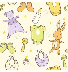 Cute hand drawn baby background vector image