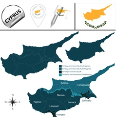 Cyprus map with named divisions vector image vector image