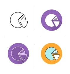 Diagram flat design linear and color icons set vector image