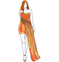 Drawn woman in orange evening dress vector