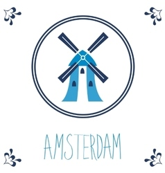 Dutch blue tile with windmill vector
