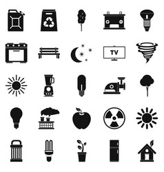 Energy icons set simple style vector