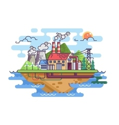 Factory plant on island vector