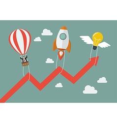 Flying lightbulb rocket and balloon pull graph up vector