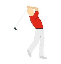 golf player in a red shirt icon isolated vector image