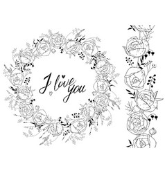 Greeting template with round frame made of vector