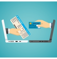 Hands with credit card and airplane ticket vector image vector image
