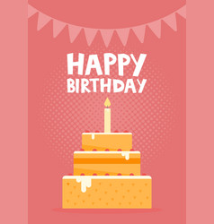 Happy birthday card design with cake vector